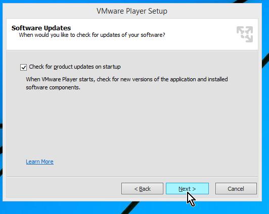 Ventana para indicar si deseas actualizaciones automáticas en cómo descargar e instalar VMWare en español