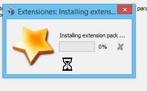 Indicador del progreso de la instalación del paquete de extensión de VirtualBox en cómo descargar e instalar VirtualBox Extension Pack