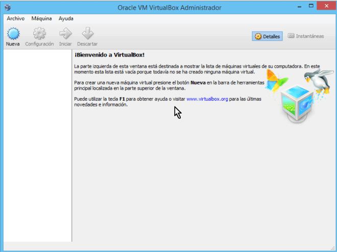 Pantalla principal de VirtualBox en cómo descargar e instalar VirtualBox en español