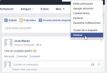 Opción para eliminiar estado en cómo eliminar una publicación en mi muro de Facebook