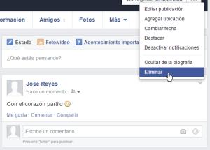 Cómo eliminar una publicación en mi muro de Facebook