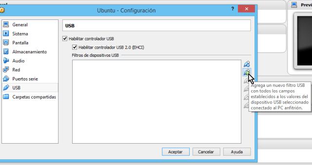 Botón para añadir  dispositivo USB desde el menú de Configuración en cómo habilitar dispositivos USB en VirtualBox