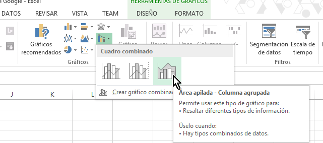 Botón para crear gráfica Área apilada - Columna agrupada en cómo hacer una gráfica combinada en Excel 2013