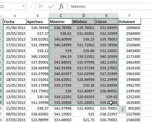 Seleccion de datos para crear la gráfica de máximo, mínimo y cierre en cómo hacer una gráfica de cotizaciones en Excel 2013