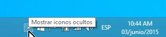 Flechita para menú de opciones de la barra de tareas en cómo ocultar el ícono de obtener Windows 10