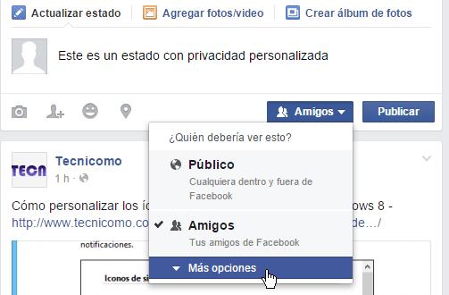 Botón para mostrar más opciones de privacidad en cómo personalizar la privacidad de un estado en Facebook