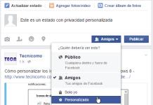 Botón para las opciones de personalización Botón para mostrar más opciones de privacidad en cómo personalizar la privacidad de un estado en Facebook