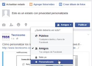 Cómo personalizar la privacidad de un estado en Facebook