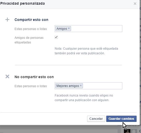 Botón para guadar los cambios en cómo personalizar la privacidad de un estado en Facebook