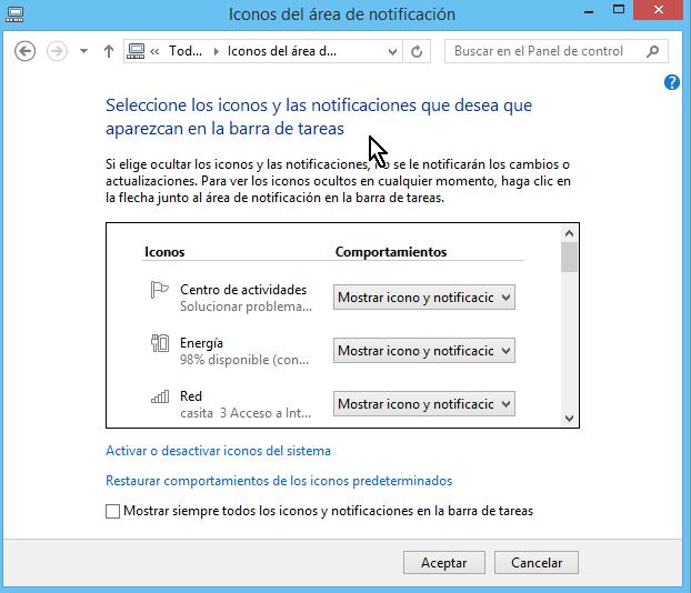 Pantalla donde se configuran los íconos en cómo personalizar los íconos de la barra de tareas en Windows 8