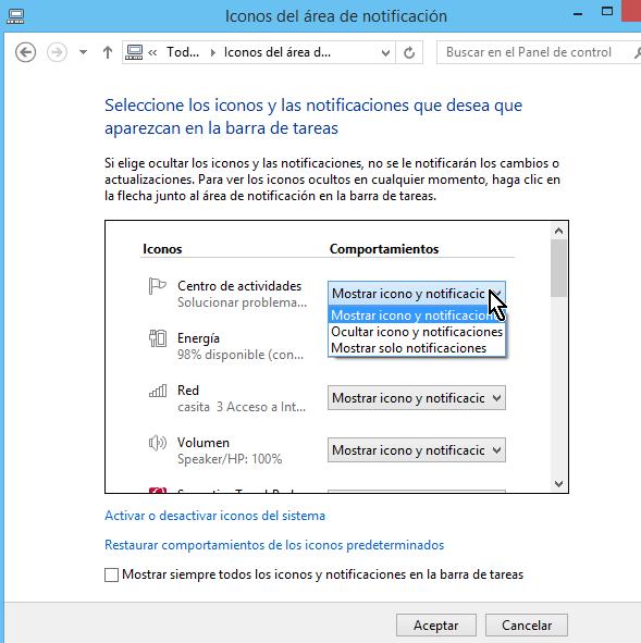 Menú desplegable mostrando los comportamientos en cómo personalizar los íconos de la barra de tareas en Windows 8