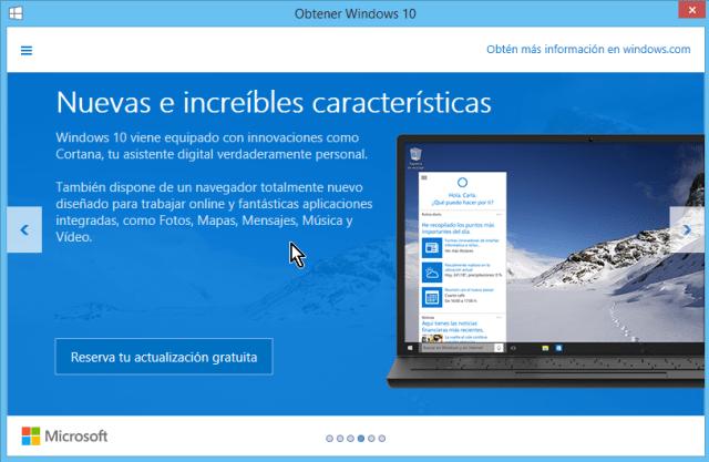 Explica algunas novedades como Cortana, música y vídeos en cómo reservar tu copia de Windows 10 gratis