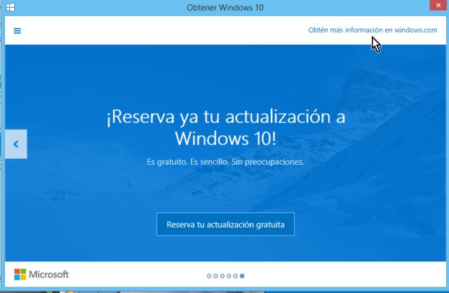Enlace para obtener más información de la actualización en cómo reservar tu copia de Windows 10 gratis
