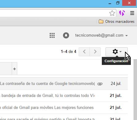 Botón de configuración de Gmail en cómo cambiar la contraseña de Gmail