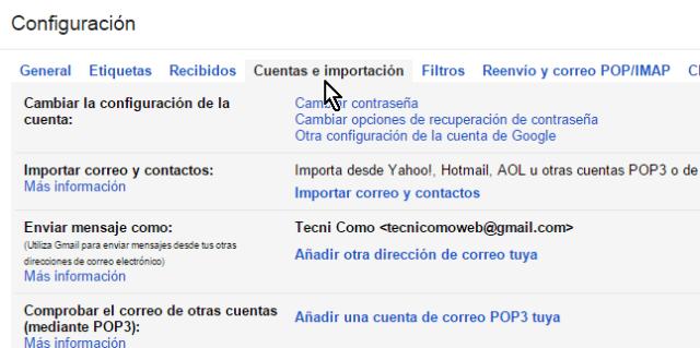 Pestañas con diferentes opciones de configuración de la cuenta de Gmail en cómo cambiar la contraseña de Gmail