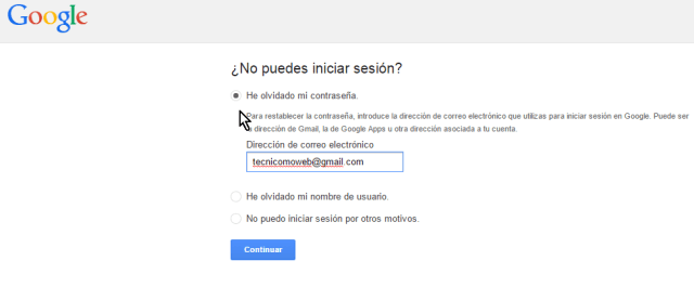 Opción He olvidado mi contraseña en cómo cambiar la contraseña de Gmail