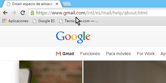 Página principal de Gmail en español en cómo crear una cuenta de Gmail en español