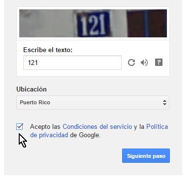 Casilla para aceptar las condiciones de uso y la privacidad de Gmail en cómo crear una cuenta de Gmail en español