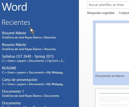 Lista de documentos recientes al abrir Word en cómo eliminar elementos de la lista de Documentos recientes en Office 2013