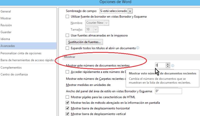 Opción para configurar la cantidad de Documentos recientes en cómo eliminar elementos de la lista de Documentos recientes en Office 2013