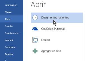 Cómo eliminar elementos de la lista de Documentos recientes en Office 2013