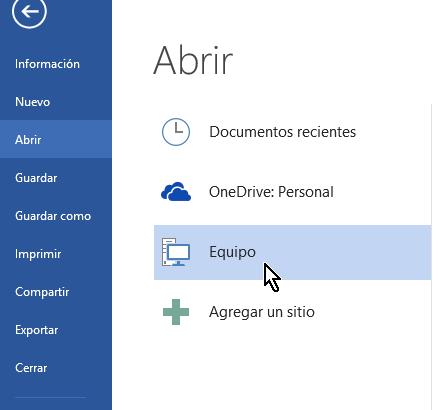 Opción Equipo para mostar carpetas recientes en cómo eliminar elementos de la lista de Documentos recientes en Office 2013