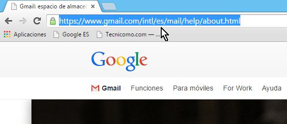 Entra la dirección de Gmail en español en la barra de direcciones en cómo iniciar una sesión de Gmail