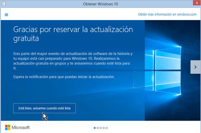 Pantalla que muestra que Window 10 está reservado pero no descargado en cómo instalar Windows 10 usando la actualización automática