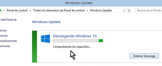 Descargando Windows 10 desde el Windows Update en cómo instalar Windows 10 usando la actualización automática