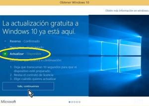 Cómo instalar Windows 10 usando la actualización automática