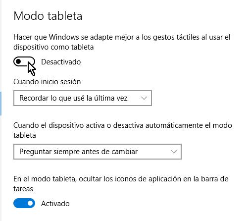Botón mostrando modo tableta desactivado en cómo activar el modo tableta manualmente en Windows 10