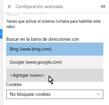 Opción para agregar un nuevo motor de búsqueda al navegador Microsoft Edge en cómo cambiar el motor de búsqueda predeterminado en Microsoft Edge