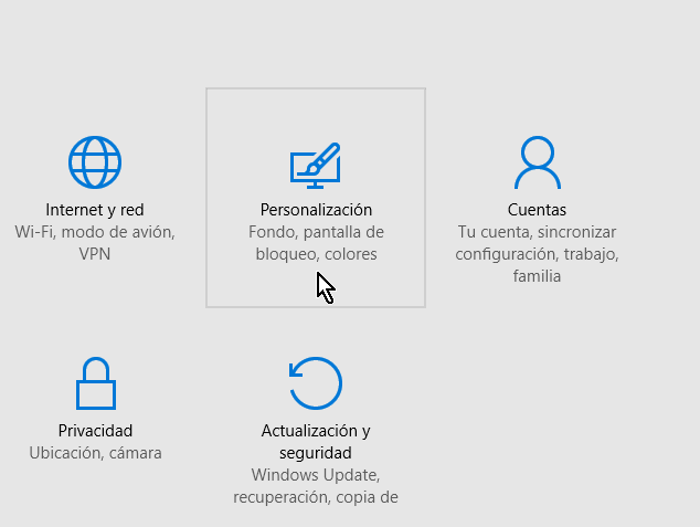 Opción Personalización en cómo configurar el protector de pantalla en Windows 10