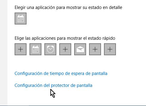 Opción Configuración del protecto de pantalla en cómo configurar el protector de pantalla en Windows 10