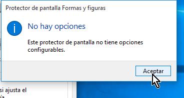 Ventana emergente indicando que no hay opciones de configuración en cómo configurar el protector de pantalla en Windows 10