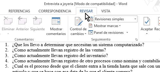 Opción Revisar de la cinta de opciones en cómo contar páginas, palabras, párrafos y líneas en Word 2013
