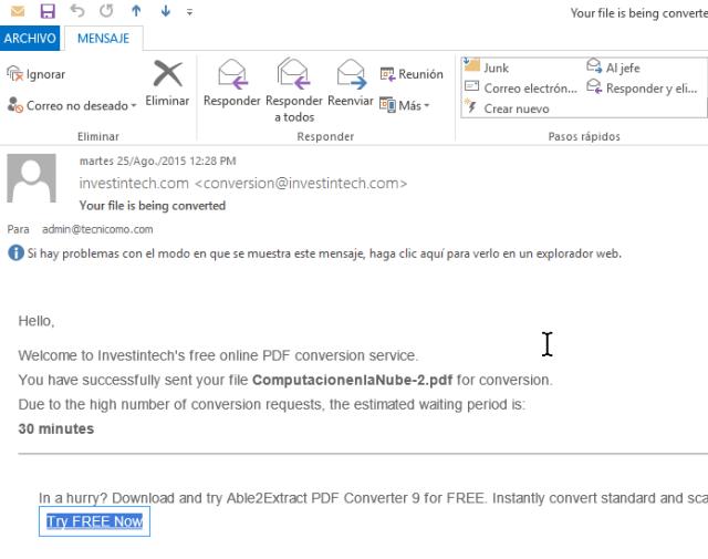 Muestra de correo de archivo PDF recibido en cómo convertir un archivo PDF a Word gratis
