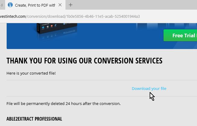 Enlace para descargar archivo PDF convertido a Word en cómo convertir un archivo PDF a Word gratis