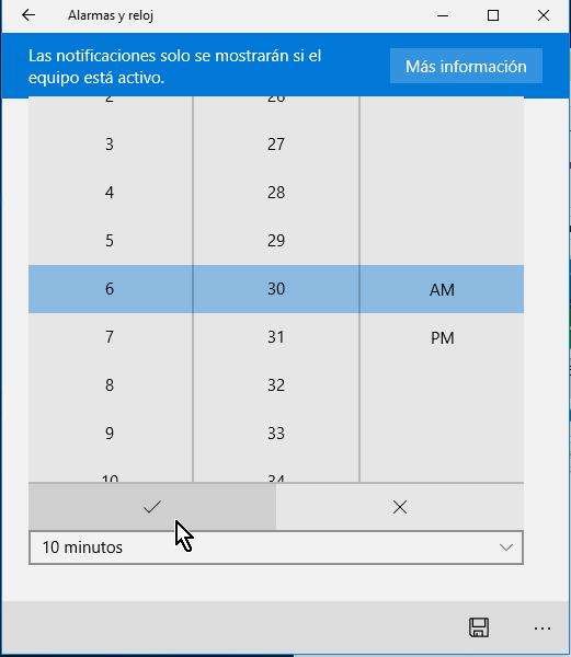 Campo para seleccionar la hora de la alarma en cómo crear una alarma en Windows 10