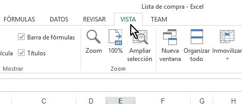 Pestaña Vista del menú principal de Excel en cómo inmovilizar filas y columnas en Excel 2013