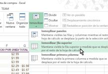 Botón para Inmovilizar fila superior en cómo inmovilizar filas y columnas en Excel 2013