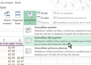 Cómo inmovilizar filas y columnas en Excel 2013