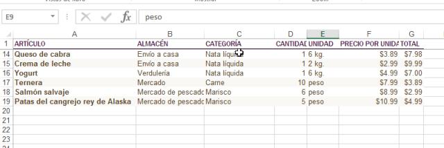 Ejemplo de fila congelada en Excel en cómo inmovilizar filas y columnas en Excel 2013