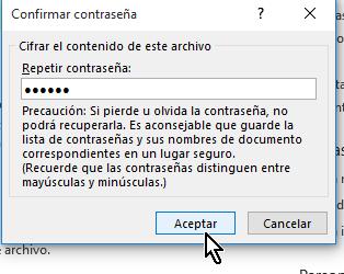 Ventana emergente para confirmar la clave para proteger el documento en cómo proteger un documento de Word poniéndole contraseña