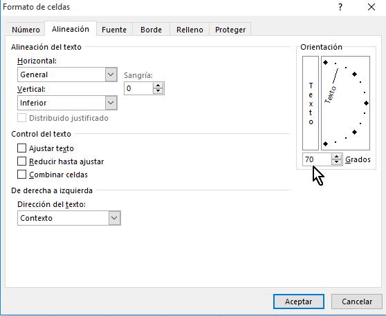 Cuadro de lista para entrar el ángulo de orientación manualmente en Excel 2013