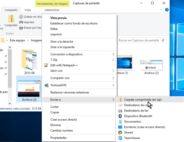 Selecciona Enviar a, Carpeta comprimida en zip en cómo comprimir archivos en Windows 10 fácilmente