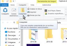 Botón Comprimir de la pestaña Compartir en cómo comprimir archivos en Windows 10 fácilmente
