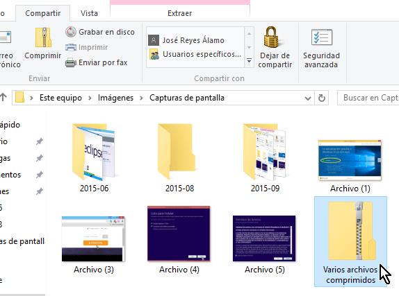 Cambiándole el nombre a la carpeta comprimida en cómo comprimir archivos en Windows 10 fácilmente