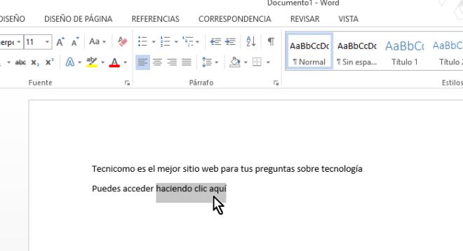 Texto sombreado para agregarle un enlace o hipervínculo