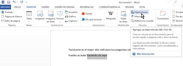 Botón Hipervínculos para agreagar un enlece a una página web desde el documento de Word 2013